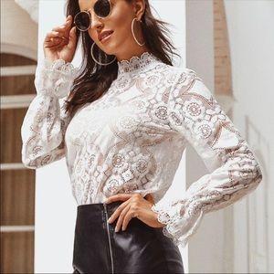 White lace blouse floral crochet